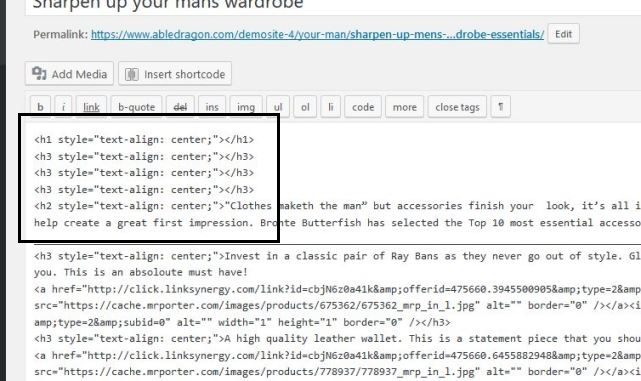 screenshot of poorly structured H tags