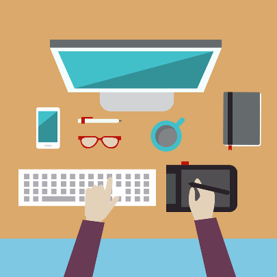 Graphic of design tools representing aspects of website design and development
