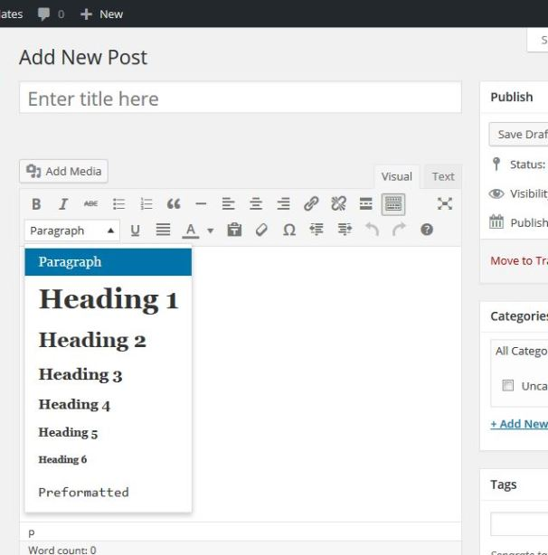 WordPress Headings feature