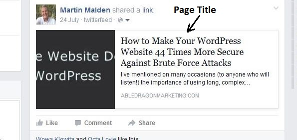 Screenshot of a page title as displayed on Facebook