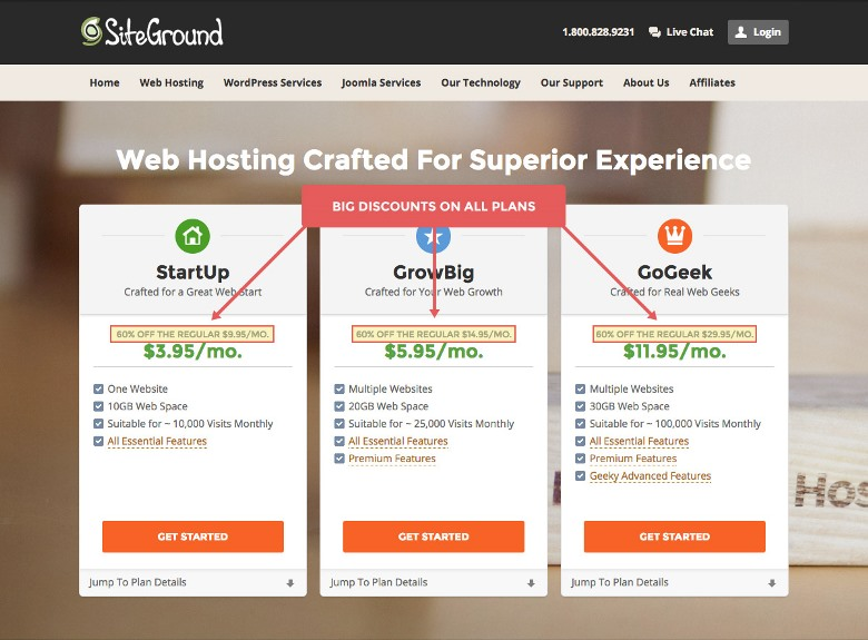 Siteground hosting packages